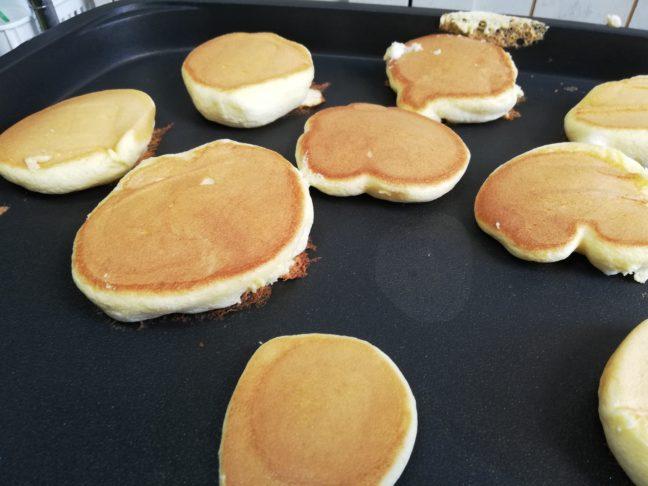 ふわふわのスフレパンケーキが焼けた画像
