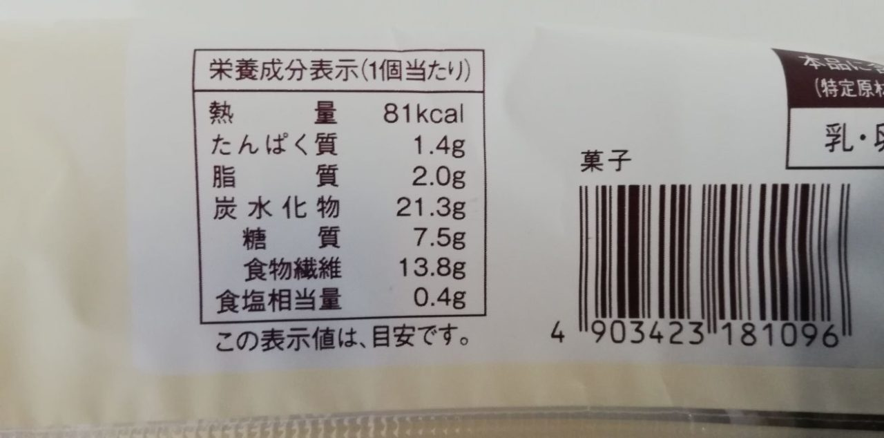ローソンの大麦むしぱんの成分表示