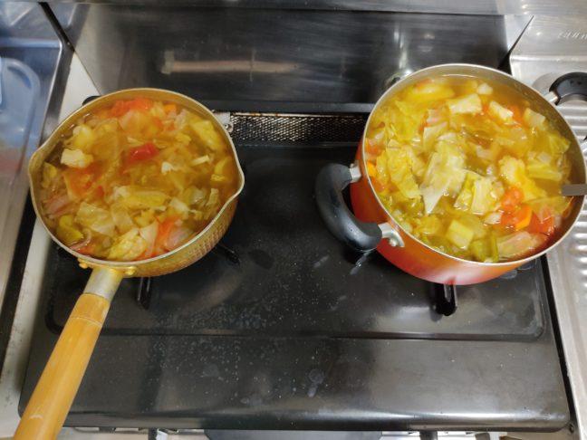 脂肪燃焼スープを作っている鍋の写真